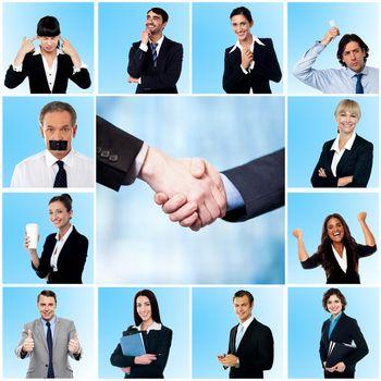 Collage of elegant businessmen and women