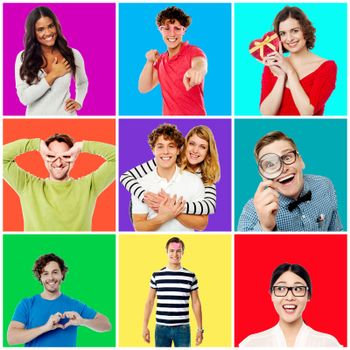 Collection of cheerful youngsters