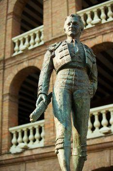 Plaza de toros de Valencia bullring with toreador statue