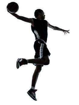 basketball player one hand slam dunk silhouette