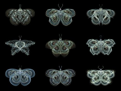 Fractal Butterflies series. Abstract design made of isolated fractal butterflies on the subject of science, creativity and design