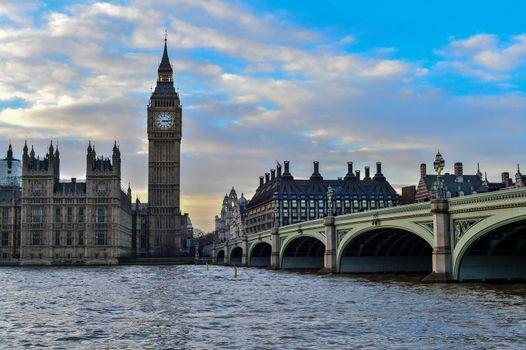 The Big Ben and Westminster Bridge in London