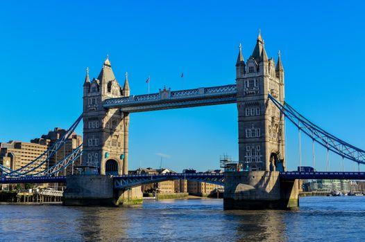 Tower Bridge in London crosses River Thames