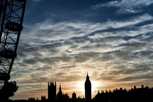 London Eye and Big Ben during sunset