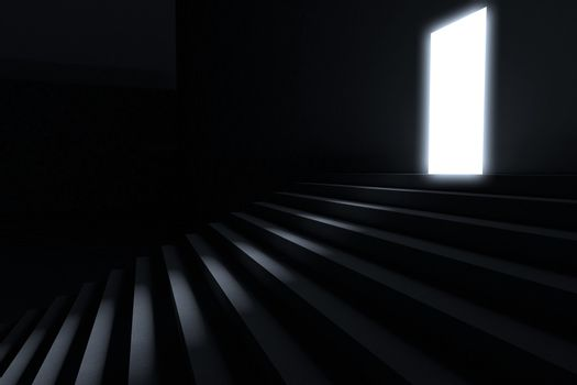 Steps leading to light in the darkness