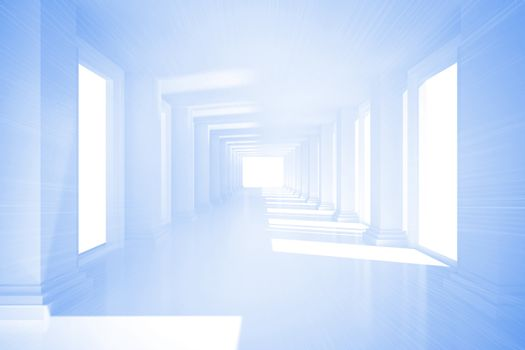 Bright blue room with columns
