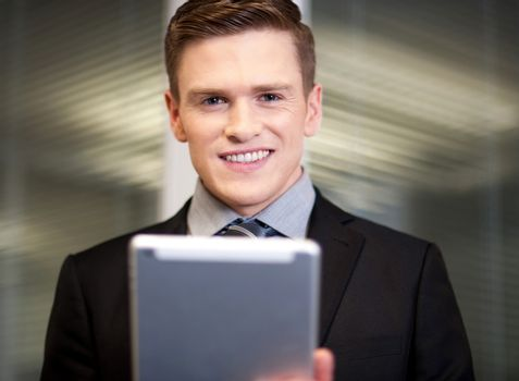 Corporate guy using tablet pc