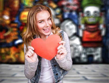 Happy teen girl in love