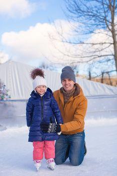 Family vacation on skating rink