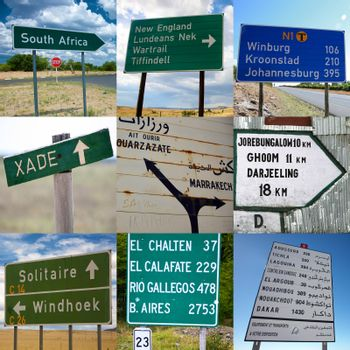 Composition of travel signs in Africa, Asia and South America
