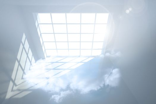 Room with holographic cloud