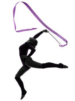 Rhythmic Gymnastics with ribbon woman silhouette