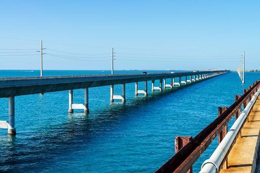 The Seven Mile bridge, Keys, Floride