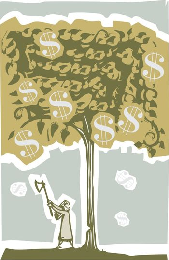 Woodcut style image of a girl chopping down a tree full of money