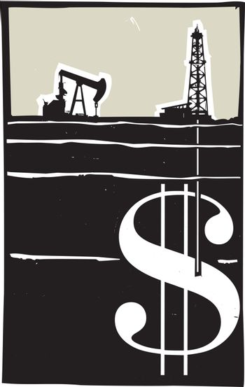 Woodcut style image Oil well drilling down into the earth and into a dollar sign.