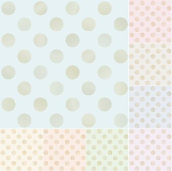 seamless pastel polka dots with gold gradient