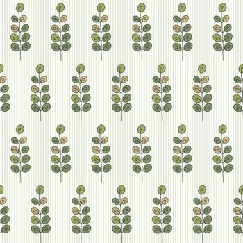seamless pattern with leaves on a bright striped background. used as wallpaper, texture, pattern fill