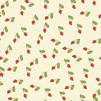 seamless background with red berries and green leaves. small items. used as wallpaper, texture, pattern fill