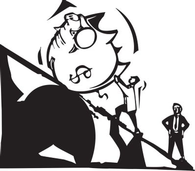 Woodcut style image of man in a business suit rolling a piggy-bank up a hill.
