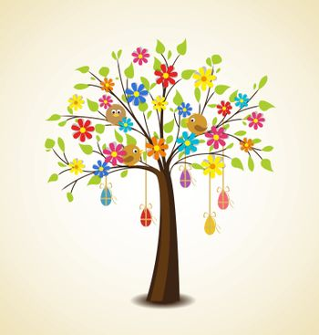 Easter decoration with tree, flowers, birds, eggs