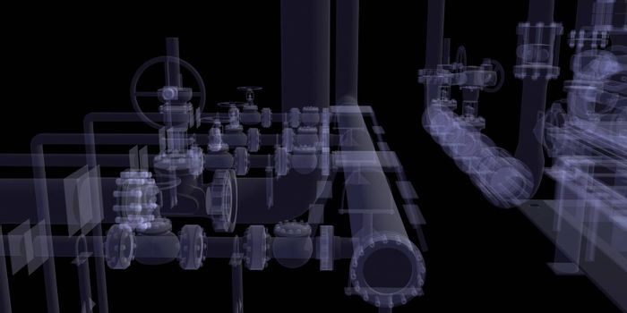 Industrial equipment. X-Ray render isolated on a black background
