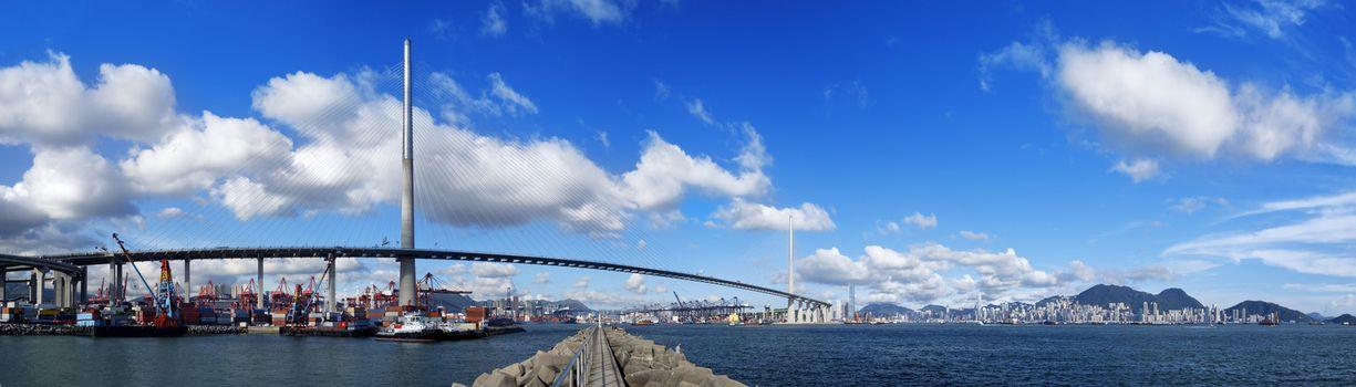Hongkong highway bridge at day