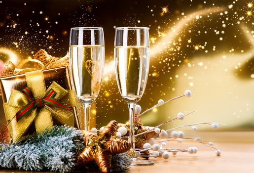 New Year and Christmas Celebration. Two Champagne Glasses