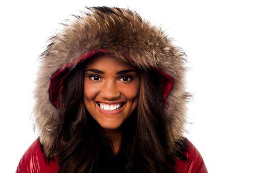 Pretty young girl in fur hood