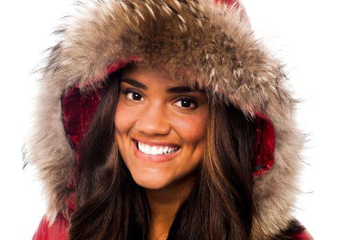 Attractive girl in fur hood