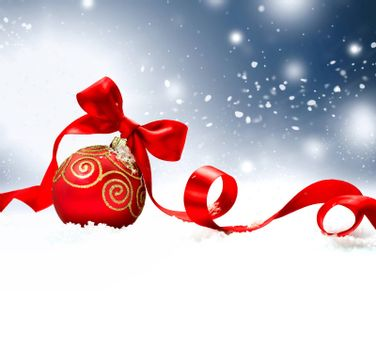 Christmas Holiday Background with Red Bauble, Ribbon, Snow and Snowflakes