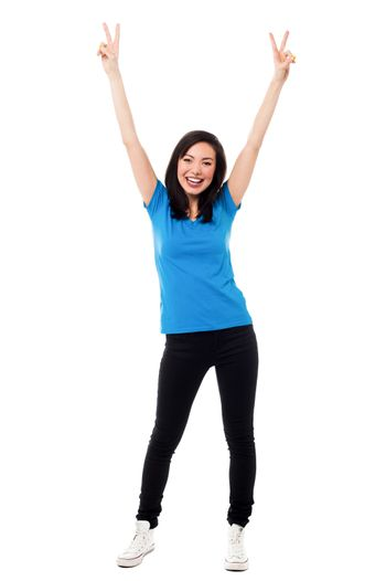 Young girl rejoicing in excitement
