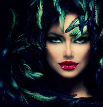 Mysterious Woman Portrait. Beautiful Model Woman Face Closeup