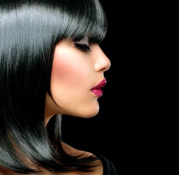 Beautiful Brunette Girl. Beauty Woman with Short Black Hair