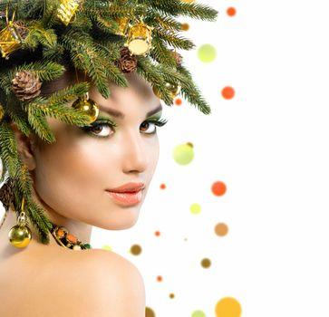 Christmas Woman. Christmas Holiday Hairstyle and Makeup