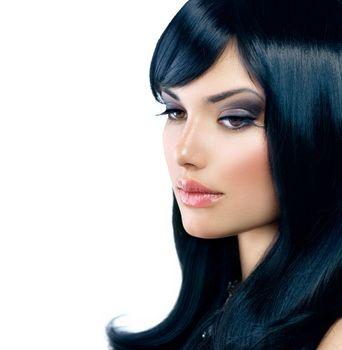Beautiful Brunette Girl. Healthy Long Black Hair