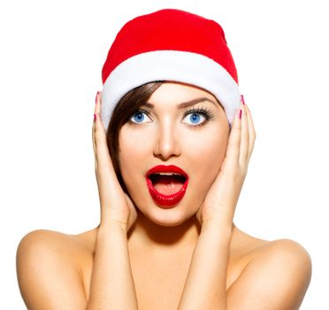 New Year Woman. Beauty Christmas Model Girl in Santa Hat