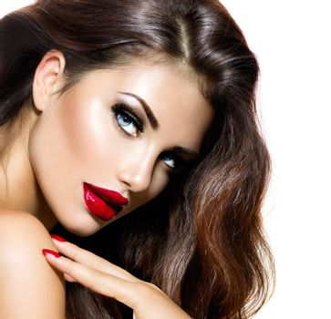 Sexy Beauty Girl with Red Lips and Nails. Provocative Makeup