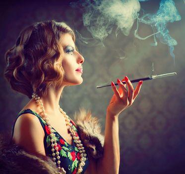 Retro Woman Portrait. Smoking Lady with Mouthpiece