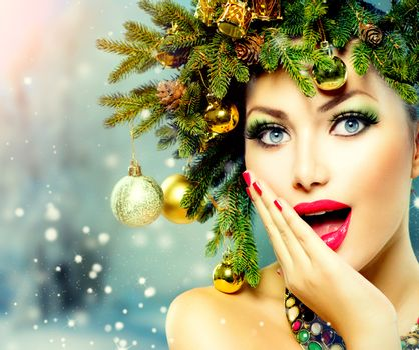 Christmas Woman. Christmas Tree Holiday Hairstyle and Makeup