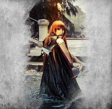Vampire.Portrait of the elegant woman in medieval era dress.