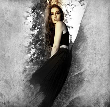 Teen.Portrait of the elegant woman in medieval era dress.