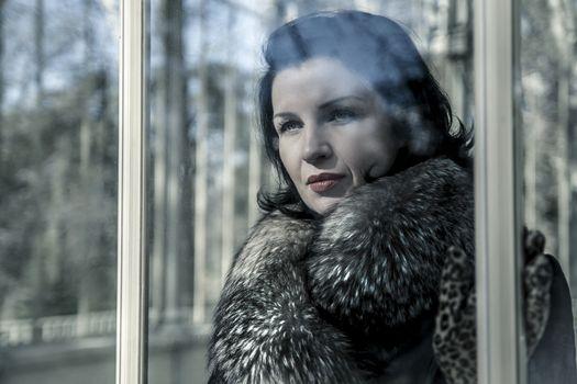 Beautiful woman in winter.Beauty Fashion Model Girl in a Fur Hat. Russian Stylish young.Portrait.
