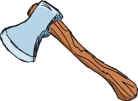 hand drawn, sketch, cartoon illustration of axe
