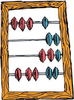 hand drawn, sketch, cartoon illustration of abacus