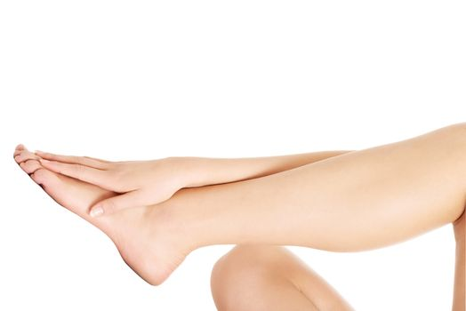 Smooth, shaved woman's legs.