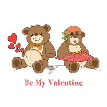 Couple of teddy bears in love