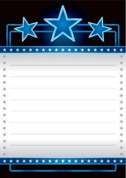 Blue neon stars over empty banner