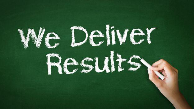 We deliver Results Chalk Illustration