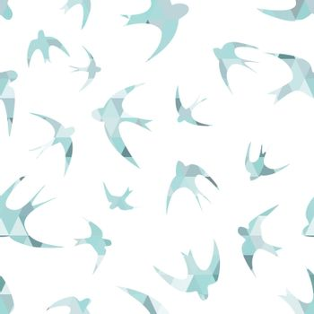 Seamless texture with the swallows, and triangles  Silhouettes of birds  Mosaic effect