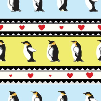 texture with penguins, triangular design, hearts
